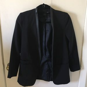 ASOS Faux Leather Trim Blazer