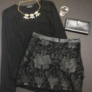 ASTR Dresses & Skirts - ASTR Black Appliqué Lace Overlay