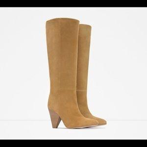 Zara tan suede knee boots with cone heel