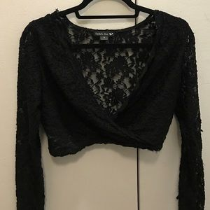 Black Lace Long-Sleeve Crop Top