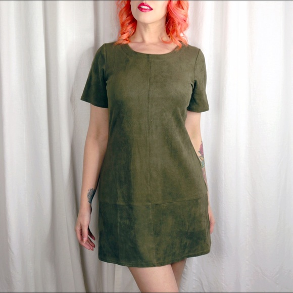 Dresses & Skirts - Faux Suede Olive Dress