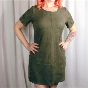 Dresses - Faux Suede Olive Dress