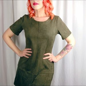 Dresses - Faux Suede Olive Dress