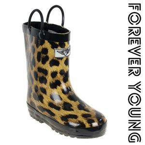 Forever Young Other - Kids Faux Fur Lined Rainboots, k1555, Leopard