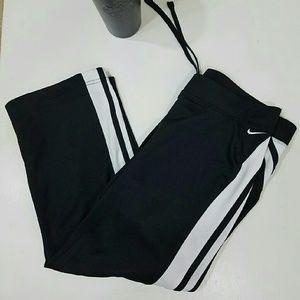 Nike Pants - Nike Workout Yoga Capris Black with White Stripes
