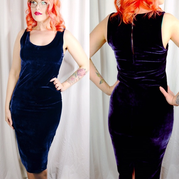 Dresses - Purple Velvet Pencil Dress