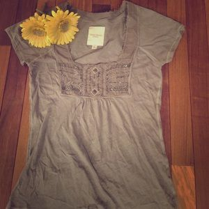 Gilly Hicks Tops - Olive Green Beaded Top