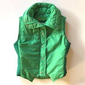 Vintage 70's Grass Green Puffer Down Ski Vest