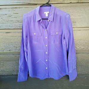 J. Crew Tops - J. Crew 100% Silk Purple Long-sleeve  Blouse
