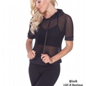 Electric Yoga Tops - LAST // Electric Yoga Sheer Contrast Lil Hoodie