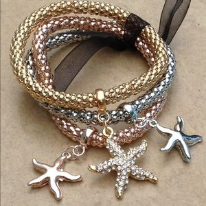 Tri-Color Starfish Nautical Charm Set of 3 Bracele