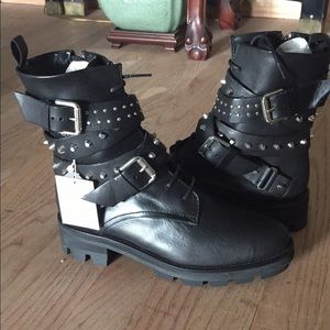 Zara Woman Black Leather Biker Ankle Boots 7.5 NWT