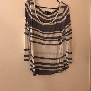 White and gray striped flowing top