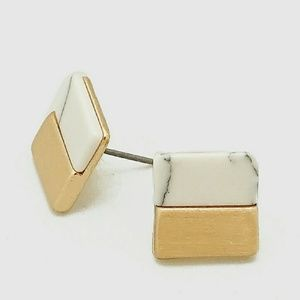 Natural Stone And Metal Square Shape Stud Earrings