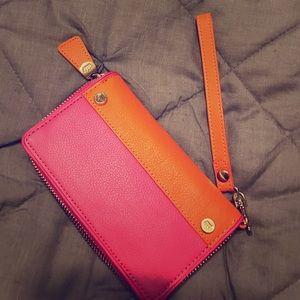 Elaine Turner Handbags - Elaine Turner Pink & Orange Wallet/Wristlet