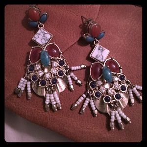 Anthropologie Jewelry - ANTHROPOLOGIE brass and stone earrings