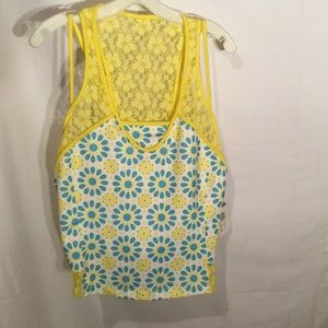 Wimbledon Tops - Ladies yellow and turquoise blue workout top