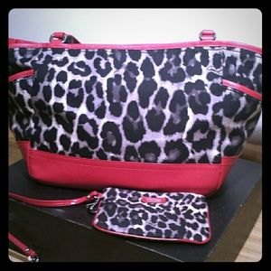 Coach Ocelot leopard print with red leather trim