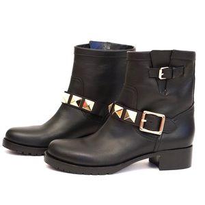 Valentino Shoes - Valentino Black Rockstud Moto Boots