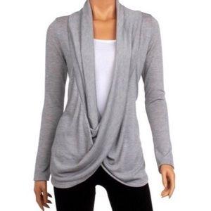 Tops - NWT Long Sleeve Criss Cross Cardigan in Light Grey