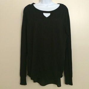 High Lo Black Sweater w Keyhole Neckline