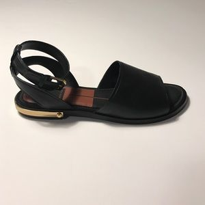 Leather ankle wrap sandals with gold plate heel