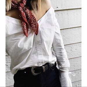 Tops - White Off Shoulder Wrist Tie Button Down Shirt