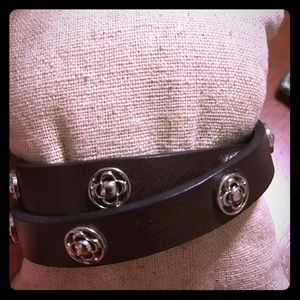 Stella and dot brown leather wrap bracelet