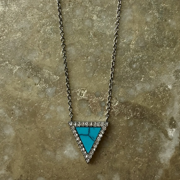 Michael Kors Jewelry - Michael Kors Turquoise Triangle Pave Necklace
