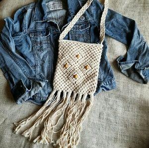 Vintage Macrame Shoulder Bag with Bamboo Beads