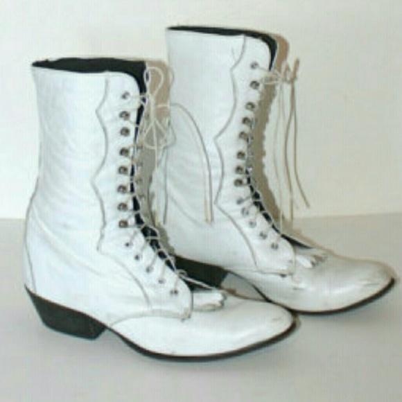 Laredo Lace Up White Granny Boots