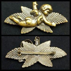 Vintage  Jewelry - Vintage Cherub Brass Pin Brooch