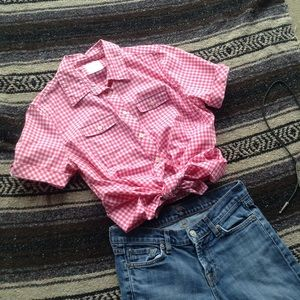 LL Bean Pink Gingham Button Down