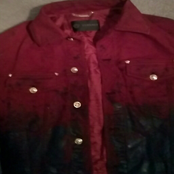 e9c374178cd Versace Jackets & Coats   Red And Black Denim Jacket With Gold Butto ...