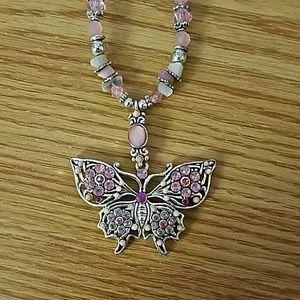 Pink butterfly necklace choker
