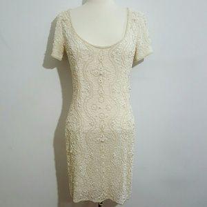 Vintage Dresses & Skirts - Vintage Creme Beaded Dress