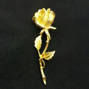 Vintage Jewelry - VINTAGE Gold Rose Pin Brooch
