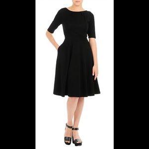 eshakti Dresses & Skirts - New Eshakti Black Knit Fit & Flare Dress S 6
