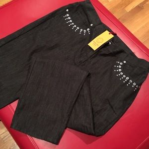 Ruby Road embellished grey/ black jeans 16W- NWT!