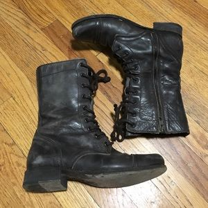 All Saints brown military boots