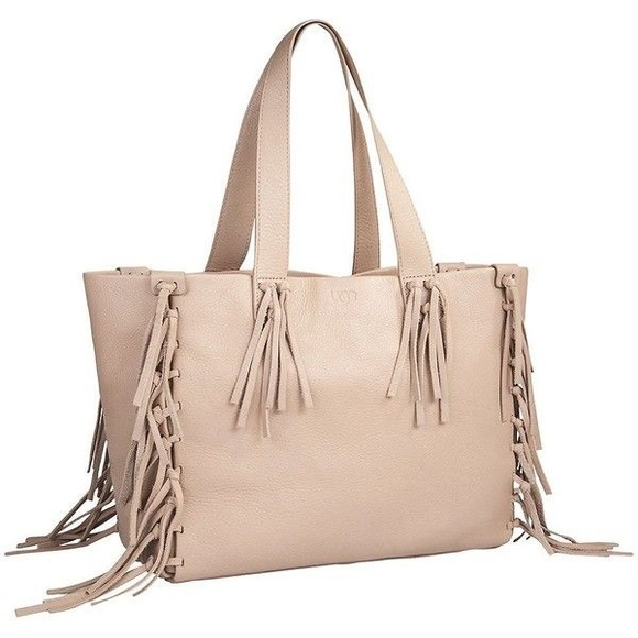 72173db2d91 🌈New UGG Lea Tote Fringed Leather Taupe Handbag NWT