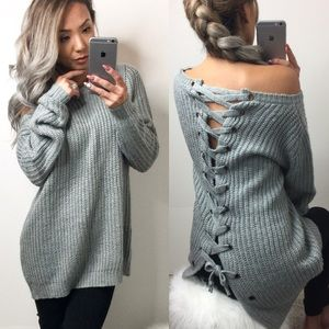 1 Left-Lace Up BacK Sweater-Grey