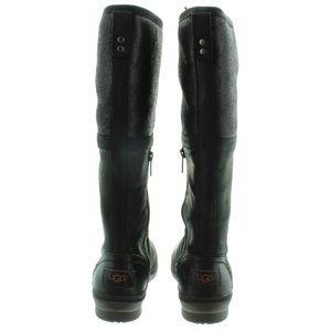 ee0059ba6c7 UGG ELSA Black TALL WATERPROOF LEATHER RAIN SNOW NWT