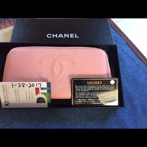 CHANEL Handbags - Chanel Timeless CC Long Zip Wallet Caviar Pink
