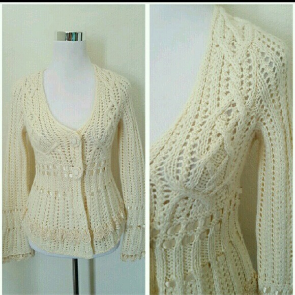 14th   Union Sweaters - Anthropologie Guinevere ribbon crochet cardigan 8f5df35f3