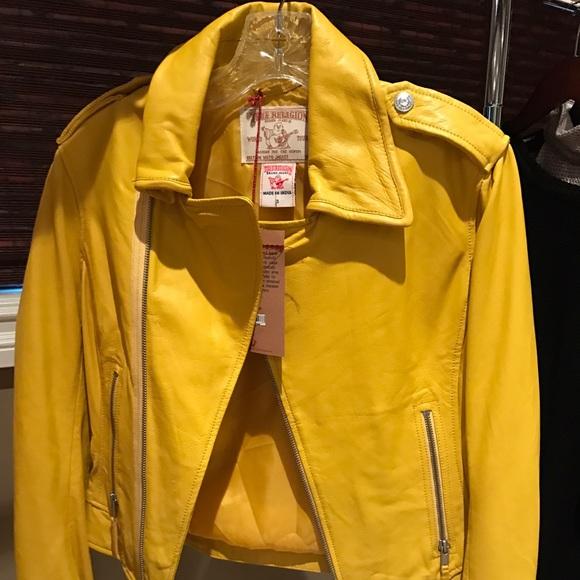 Motorcycle Leather Nwt Yellow Jacket True Religion XTOiPkZu