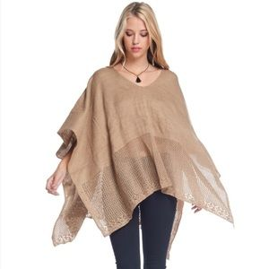 Bellino Clothing Tops - 🆕Bellino Taupe Open Weave Poncho