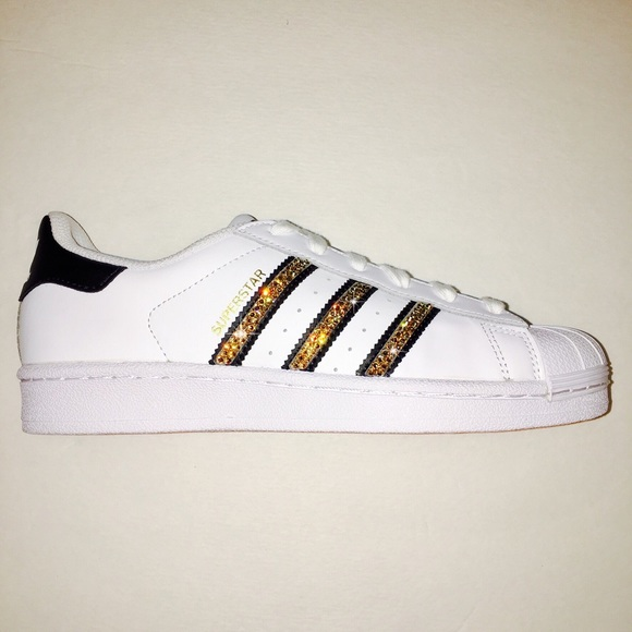 release date: 8f004 3c942 Swarovski Adidas Superstars w  Gold Bling Shoes