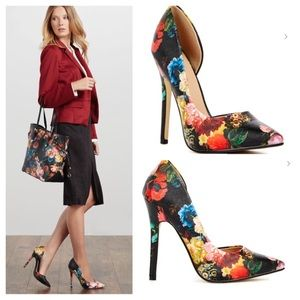 JustFab Shoes - 🆕Mannon Floral Stiletto Heels