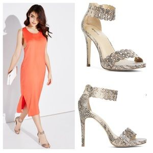 Just Fab Shoes - 🆕Blush Snake Skin Sandals With Heels